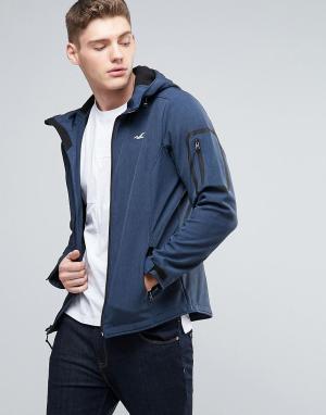 Hollister Мягкая темно-синяя куртка с капюшоном. Цвет: темно-синий