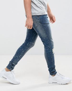 SikSilk Выбеленные зауженные джинсы с потертой отделкой и молниями. Цвет: синий