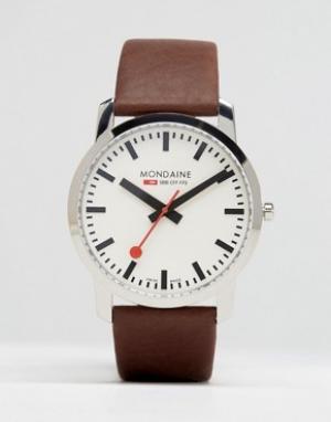 Mondaine Часы с коричневым кожаным ремешком 41 мм. Цвет: коричневый