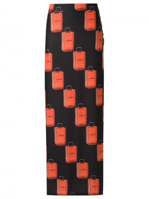 Длинная юбка с принтом Amir Slama. Цвет: чёрный