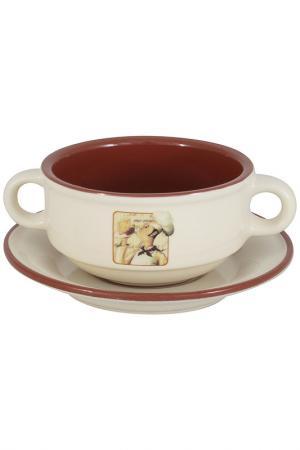 Суповая чашка на блюдце TERRACOTTA. Цвет: мультицвет