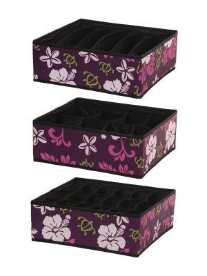 Органайзер для хранения, 3 шт HomeMaster. Цвет: фиолетовый, белый, розовый