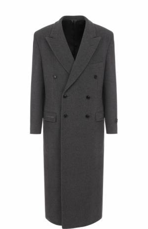 Двубортное шерстяное пальто с отложным воротником Balenciaga. Цвет: светло-серый
