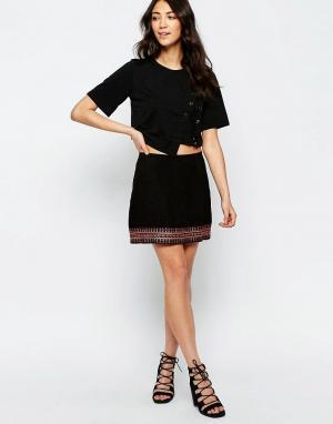 Muubaa Замшевая юбка с вышивкой Forster. Цвет: черный