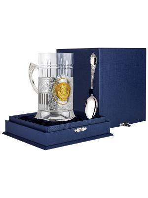 Набор для чая Герб СССР (подстаканник посеребренный+хрустальный стакан+серебряная ложка) +футляр АргентА. Цвет: серебристый, золотистый