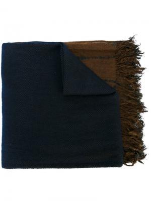 Полосатый шарф с необработанными концами Suzusan. Цвет: синий