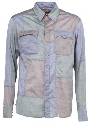 Рубашка с панельным дизайном Kolor. Цвет: зелёный