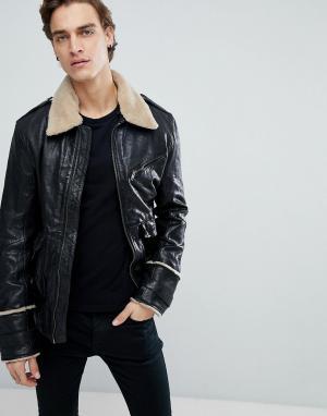 Black Dust Состаренная кожаная куртка с отделкой из искусственного меха Dus. Цвет: черный