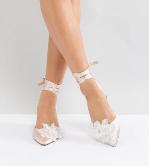 ASOS Туфли на среднем каблуке для широкой стопы WONDERLUST Bridal. Цвет: бежевый