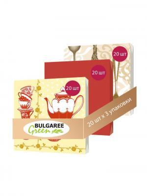 Набор Чаепитие из 3 упаковок трехслойных салфеток с ярким принтом, 3х20шт Bulgaree Green. Цвет: желтый, красный