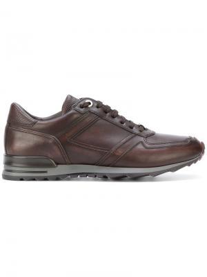 Кроссовки на шнуровке Canali. Цвет: коричневый