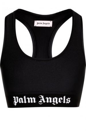 Спортивный кроп-топ с логотипом бренда Palm Angels. Цвет: черный
