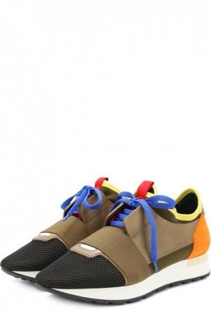 Комбинированные кроссовки с эластичной вставкой Balenciaga. Цвет: хаки