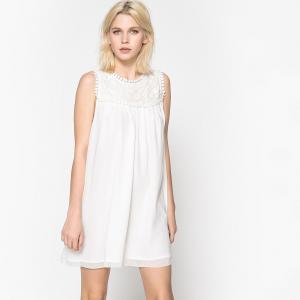 Платье короткое, прямое, однотонное, без рукавов SCHOOL RAG. Цвет: белый