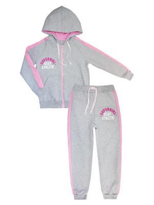Костюм спортивный: толстовка, брюки КОТМАРКОТ. Цвет: розовый, серый