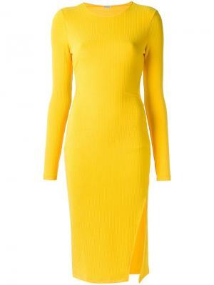 Платье длины миди в рубчик Tufi Duek. Цвет: жёлтый и оранжевый