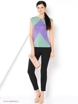 Блузка Анна Чапман. Цвет: зеленый, фиолетовый