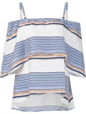 Полосатая блузка с открытыми плечами Tanya Taylor. Цвет: белый