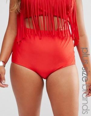 Monif C Красные плавки бикини с завышенной талией. Цвет: красный