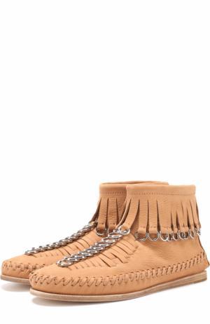 Кожаные ботинки с бахромой и подвесками Alexander Wang. Цвет: бежевый