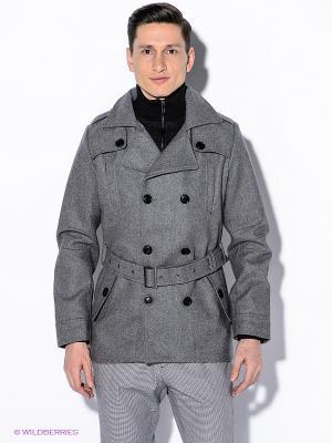 Пальто Oodji. Цвет: серый