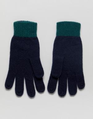 Jack Wills Темно-синие перчатки колор блок. Цвет: темно-синий