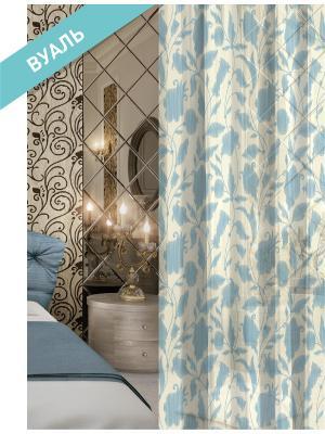 Комплект штор (2 шт.) Волшебная ночь, 150см*270см, ткань-Вуаль,  стиль-ВЕРСАЛЬ, TRILLISS ночь. Цвет: белый, голубой