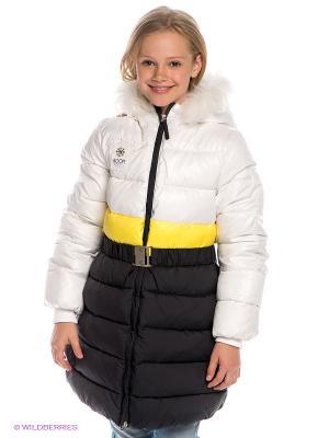 Пальто BOOM. Цвет: желтый, белый, темно-серый