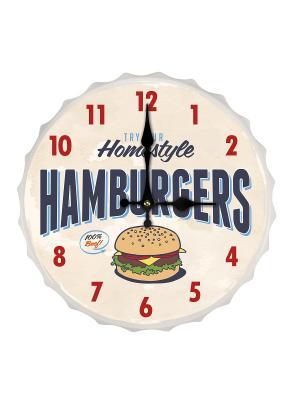 Настенные часы Hamburgers Contento. Цвет: синий, бежевый, красный