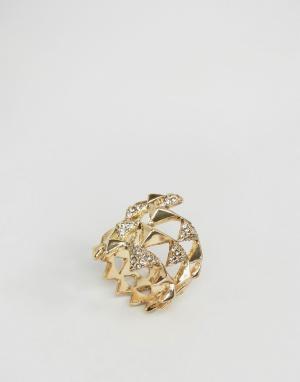 House of Harlow Золотистое кольцо с паве и пирамидкой. Цвет: золотой