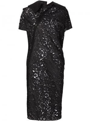 Асимметричное прозрачное платье-рубашка Junya Watanabe Comme Des Garçons. Цвет: чёрный