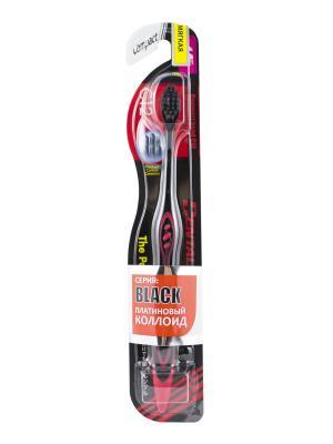 Зубная щетка Black Compact Head мягкая DENTALPRO. Цвет: красный