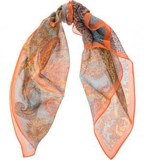 Шелковый платок с контрастным принтом FRAAS. Цвет: оранжевый