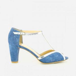 Туфли кожаные велюровые Damaris JONAK. Цвет: розовый/серебристый,синий+серебристый,черный/ серебристый