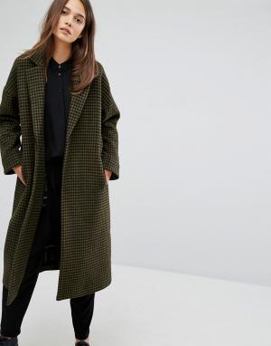 Parka London Пальто в клетку Rosie. Цвет: зеленый