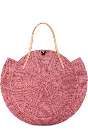 Плетеная сумка Nova из рафии Sans-Arcidet. Цвет: розовый