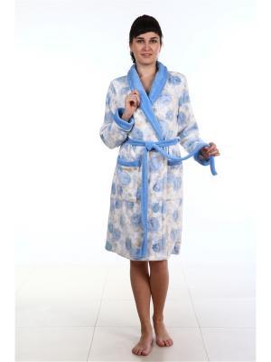 Халат AMO LA VITA. Цвет: голубой, серый меланж, белый