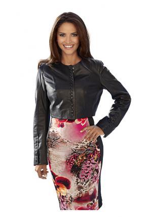 Кожаная куртка Ashley Brooke. Цвет: бирюзовый, красный, розовый, черный, ярко-розовый