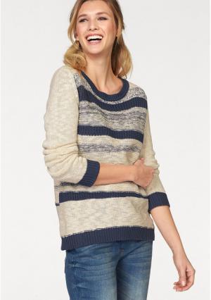 Пуловер CHEER. Цвет: цвет белой шерсти/темно-синий