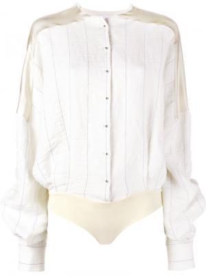 Рубашка-боди в полоску Esteban Cortazar. Цвет: телесный