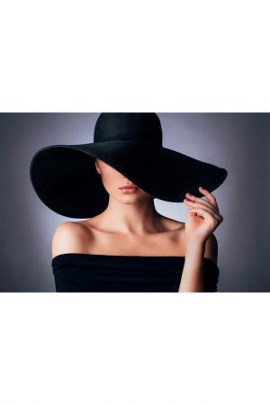 Холст Девушка в шляпе Ecoramka. Цвет: черный, бежевый, голубой