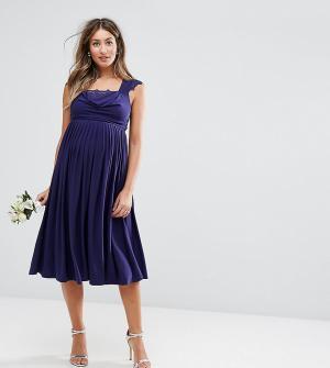 ASOS Maternity Платье макси для беременных с кружевными вставками WEDD. Цвет: темно-синий