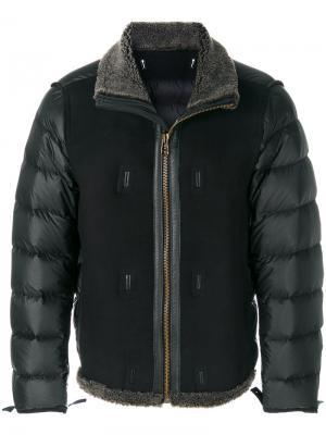 Фактурная стеганая куртка Ten-C. Цвет: чёрный