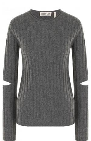 Шерстяной пуловер фактурной вязки с разрезами на рукавах Helmut Lang. Цвет: серый