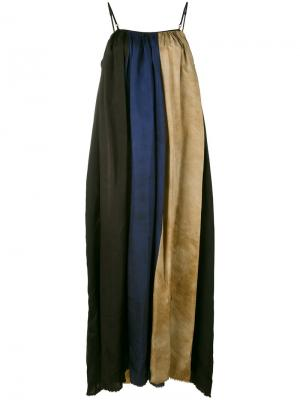 Длинное платье с полосатыми вставками Uma Wang. Цвет: чёрный