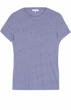 Удлиненная льняная футболка с перфорацией Iro. Цвет: голубой