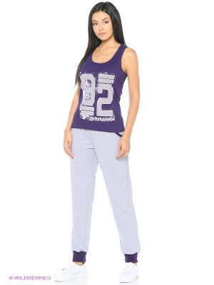 Брюки D.S. Цвет: фиолетовый, серый меланж