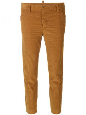 Укороченные вельветовые брюки Dsquared2. Цвет: коричневый