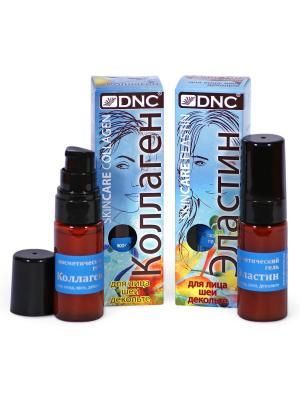 Набор для ухода за кожей лица, шеи и зоны декольте. Коллаген Эластин (2х20 мл) DNC. Цвет: прозрачный