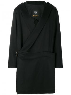 Пальто с капюшоном под пояс Cini. Цвет: чёрный